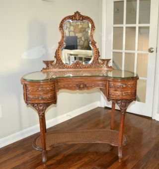 Antique French Louis Xvi Rosewood Carved & Caned Vanity Dressing Table Mirror photo