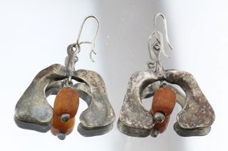 Antique Silver Faturan Amber Islamic Arabic Ottoman Hand Made Earrings photo
