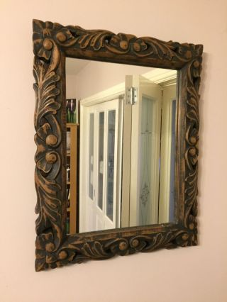 Antique Large Carved Oak Florentine Style Wall Mirror photo