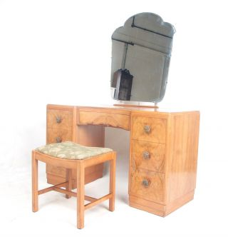 Art Deco Dressing Table And Stool French Kneehole Twin Pedestal Walnut 1930s Vin photo