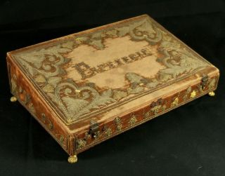 Antique French Napoleonic Age Decorated Box For Documents Ca 1800 photo