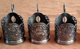 6 Silver Plated Ukrainian Ussr Tea Cup Holders With Bogdan Khmelnitsky 1950 - 60s photo