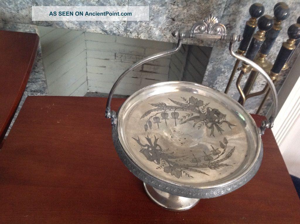 Vintage Reed & Barton Silver Plated Victorian Pedestal Basket Baskets photo