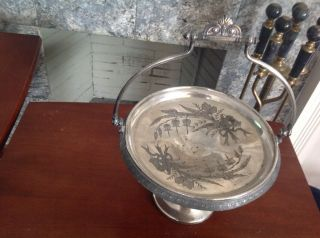 Vintage Reed & Barton Silver Plated Victorian Pedestal Basket photo