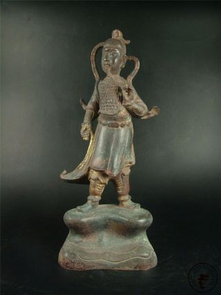 Very Large Antique Old Chinese Tibet Gilt Bronze Buddha Official Statue Qing Dy. photo