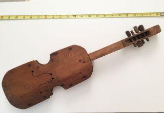 Early Folk Art Home Made Violin Primitive Old Wood photo