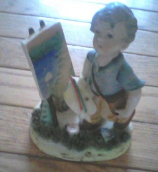 Vintage Statue Figurine Of Boy Painting Orion Made In Japan photo