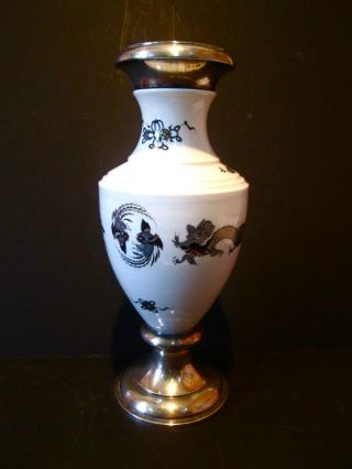 Vintage Meissen Porcelain Vase Mounter In Sterling Silver Top And Bottom. photo