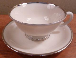 Elegant Vintage Lenox White With Platinum Trim Montclair Pattern Cup And Saucer photo