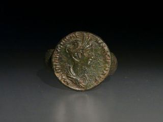 Roman Bronze Ring With Images Of Marciana photo
