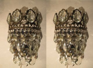 Antique Vintage French Basket Style Crystal Wall Sconce Aplique 1940 ' S photo