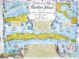 Historical/treasure/ Pirate Map Roatan Island Hondouras Watercolor Print 1981 photo