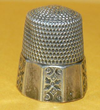 Antique Victorian Art Nouveau Ornate Sterling Silver 10 Sewing Thimble Signed photo