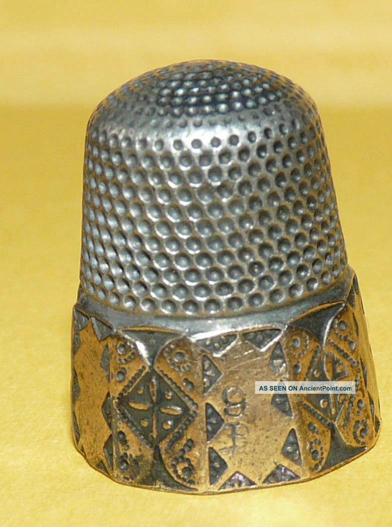 Antique Victorian Art Nouveau Sterling Silver W/ Gold 9 Sewing Thimble Signed Thimbles photo