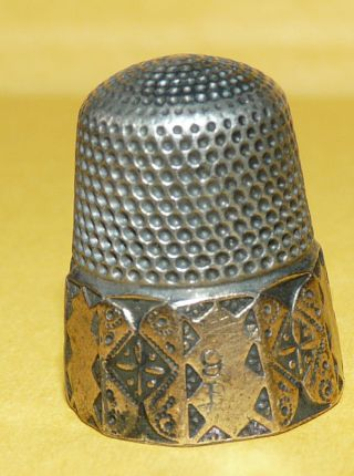 Antique Victorian Art Nouveau Sterling Silver W/ Gold 9 Sewing Thimble Signed photo