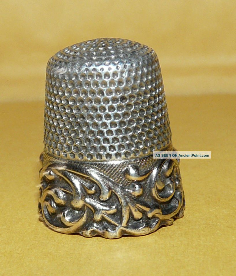Vintage Antique Victorian Art Nouveau Sterling Silver 11 Sewing Thimble Signed Thimbles photo
