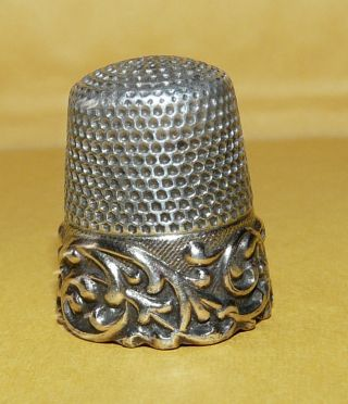 Vintage Antique Victorian Art Nouveau Sterling Silver 11 Sewing Thimble Signed photo