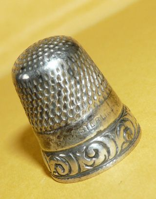 Vintage Antique Victorian Art Nouveau Sterling Silver 9 Sewing Thimble Signed photo