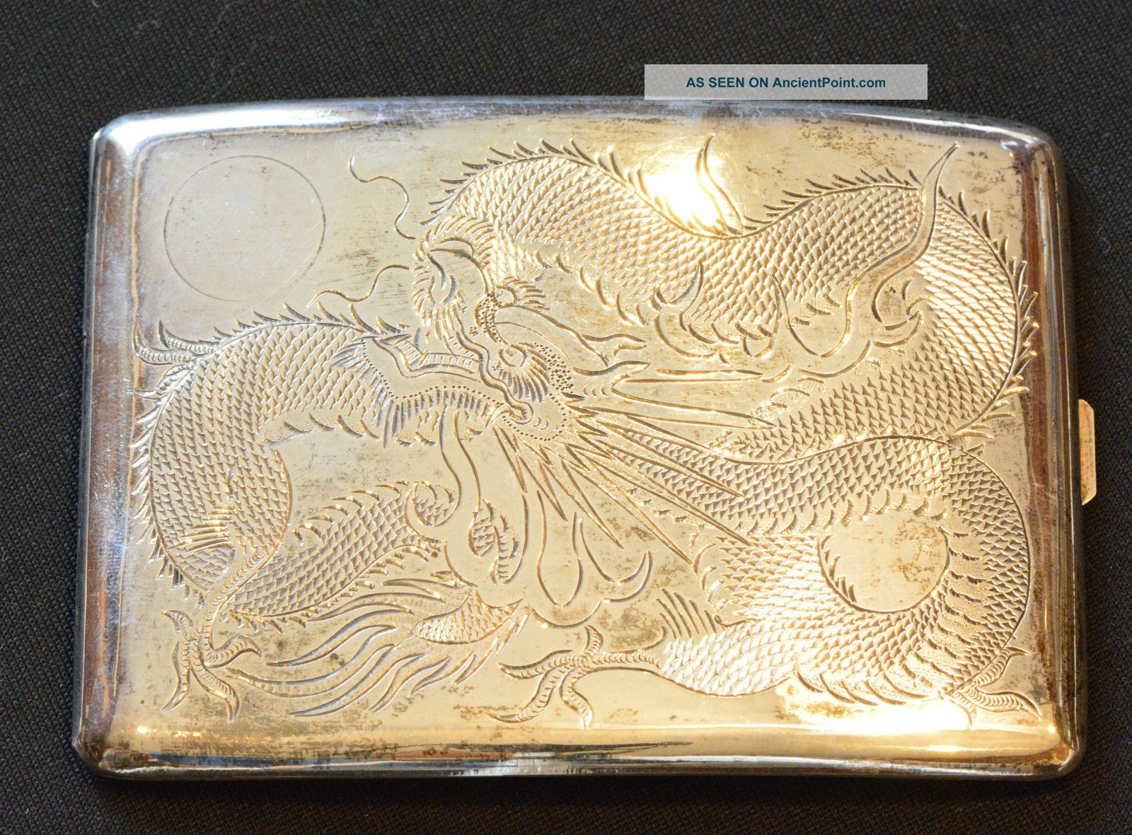 China Qing Dynasty Antique Silver Cigar Box With Dragon Boxes photo