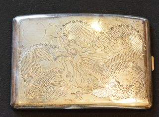 China Qing Dynasty Antique Silver Cigar Box With Dragon photo