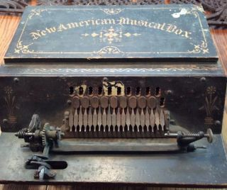 Antique 1889 Roller Organ Gem American Musical Box With 16 Cobs photo