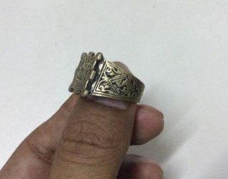 Islamic Seal Ring Amulet Mysticism Afghan Musk Uzbek Craft Magic Engraved Brass photo
