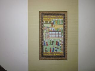 Hand Colored Persian Miniature Circa 19th Century Illuminated Islamic Manuscript photo
