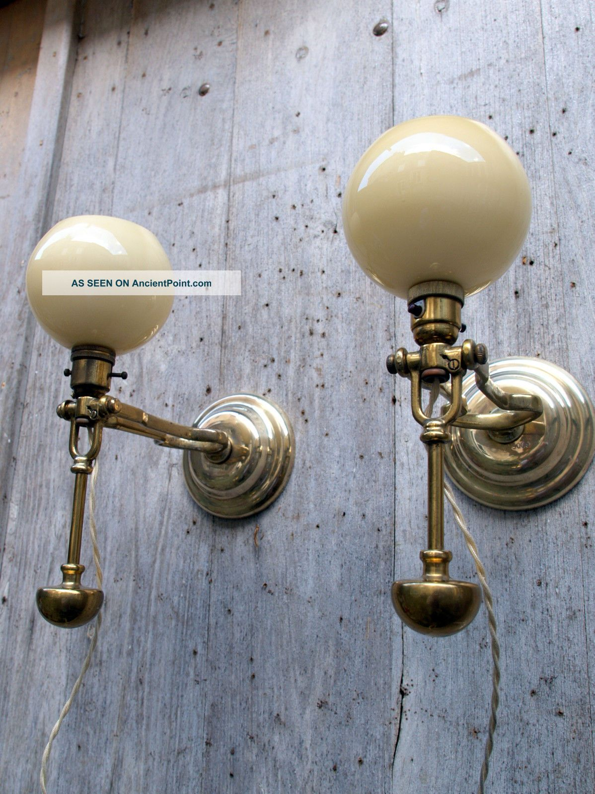 Rare Pair Antique Gimbal Lamps Ship Or Pullman 1 Marked Harcourts - Heavy Edwardian (1901-1910) photo