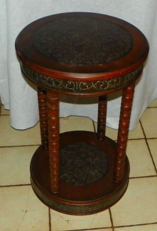 Mahogany Hammered Brass Lamp Table / Plant Stand (ps139) photo