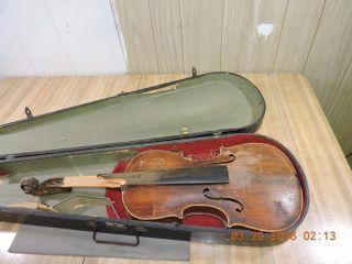 Antique Hopf Signed Stamped Back Flame Back Violin W/wood Case photo
