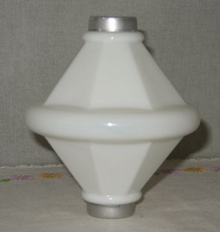 Vintage White Milk Glass Unembossed Electra Cone Lightning Rod Ball - photo