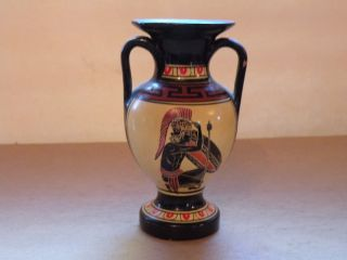 A410 Ancient Greek Attic Pottery Reproduction Small Vase,  Hoplite Warriors 4 3/4 photo