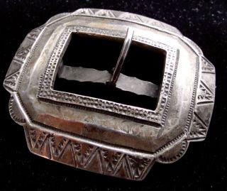 Unique Antique Native American Ingot Silver Belt Buckle photo