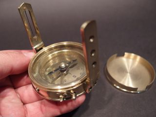 Antique Vintage Style Brass Encampment & Fortification Surveyors Compass photo