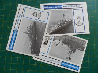 Navy/naval Hmas Yarra (de45),  Derwent (de49) & Swan (de50) Welcome Aboards C1980 photo