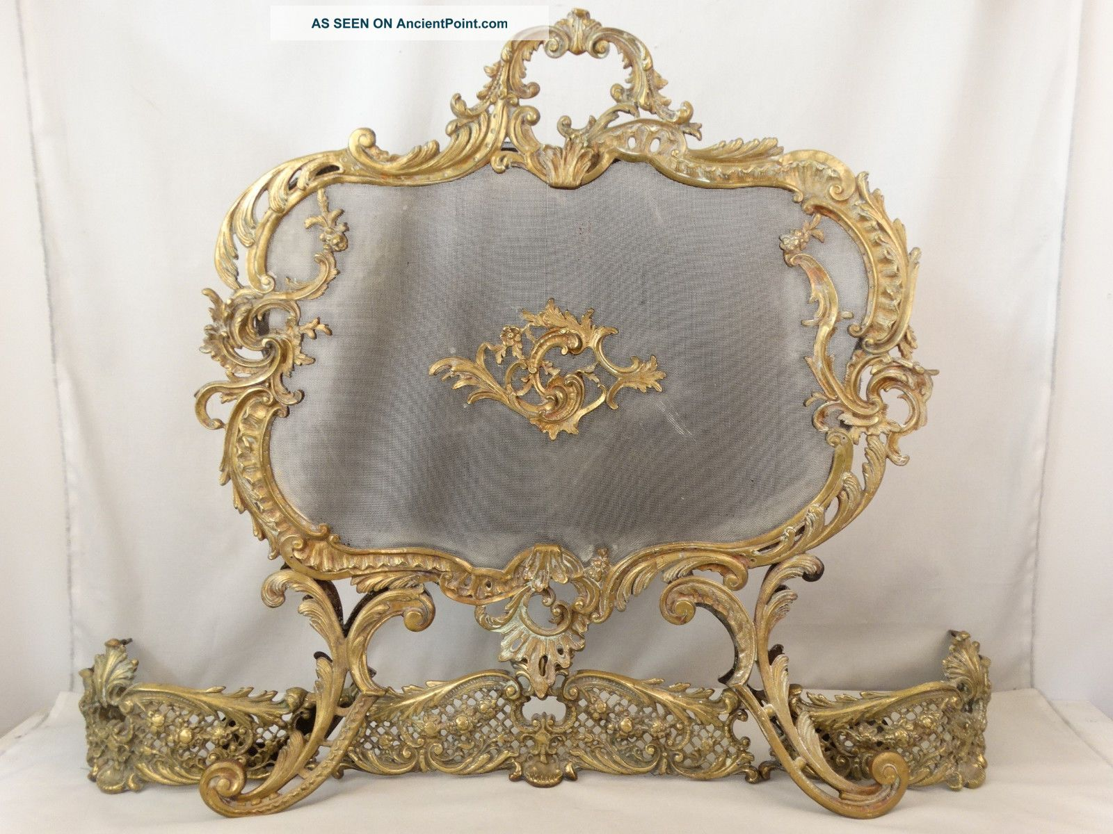 19thc Antique French Rococo Floral Victorian Bronze Fireplace Fire Screen Fender Hearth Ware photo