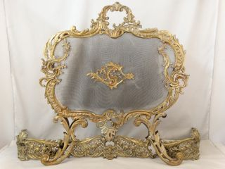 19thc Antique French Rococo Floral Victorian Bronze Fireplace Fire Screen Fender photo