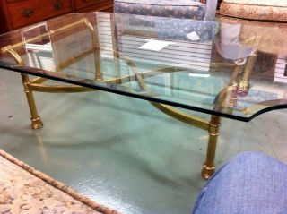 Hollywood Regency Brass Scroll Coffee Table: Made In Italy photo