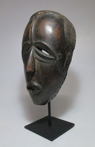 Very Rare Old Dan Bete African Mask On Display Stand. photo