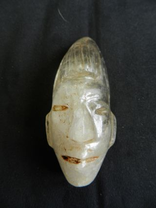 Pre - Columbian Olmec,  Aztec Crystal Quartz Head Face Necklace Oaxacan Skull photo