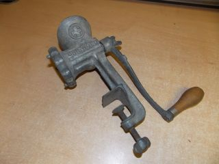 Vintage Griswold Meat Grinder Food Chopper 3 Cast Iron Hand Crank Type photo