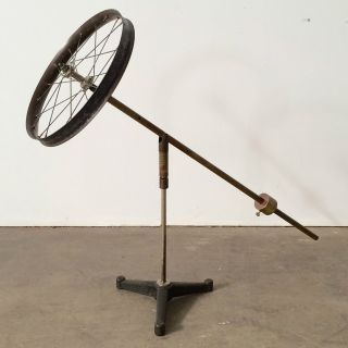 Antique Vtg Scientific Demonstration Gyroscope Spoked Wheel Balance Arm Stand photo