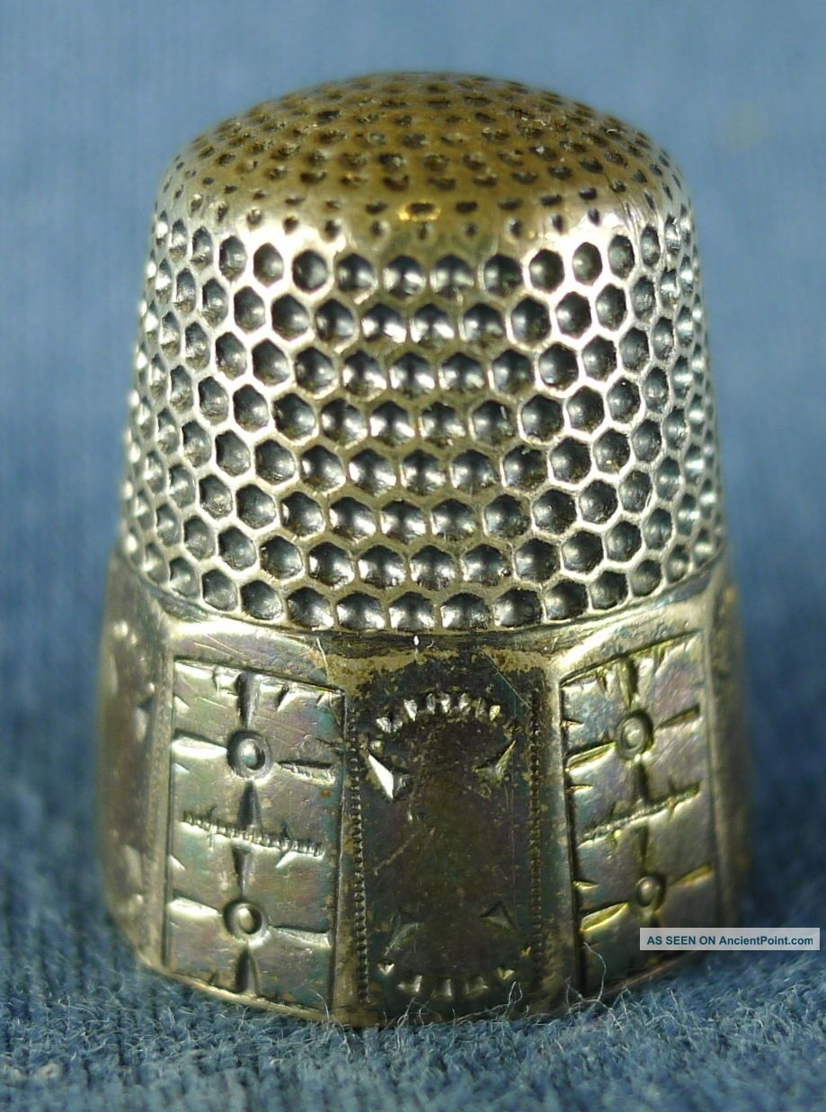 Great Old Sterling Silver Sewing Thimble,  Size 10,  5 Grams,  Star Mark Thimbles photo