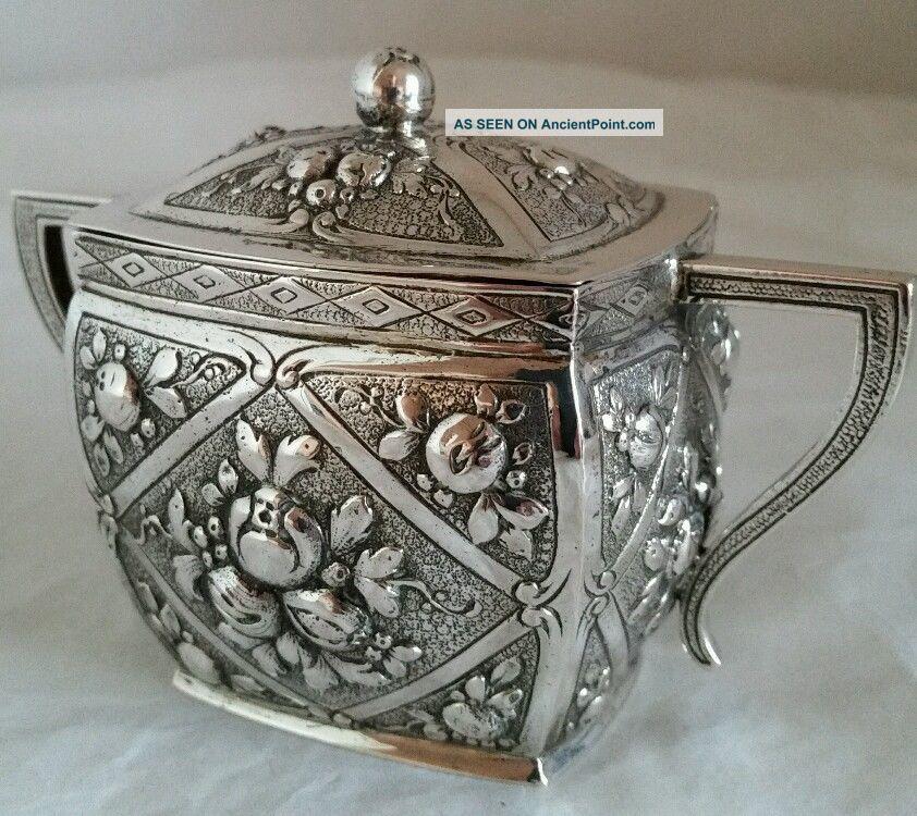 German Silver Sugar Bowl And Cover.  Hallmarked.  800 Standard.  Possibly Hanau Sugar Bowls/ Tongs photo