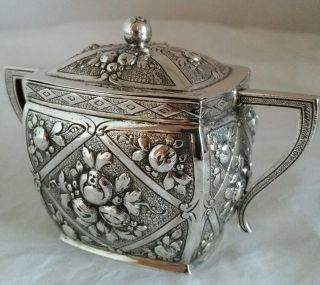 German Silver Sugar Bowl And Cover.  Hallmarked.  800 Standard.  Possibly Hanau photo
