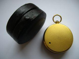 Miniature Gilt Brass Pocket Barometer,  Leather Case :full Cond photo