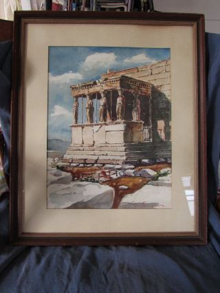 A Well - Executed Watercolor View Of The Acropolis Erechteion Temple,  Athens photo