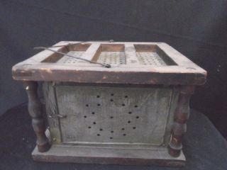 Antique Pierced Tin And Wood Foot Warmer Mid 1800s photo