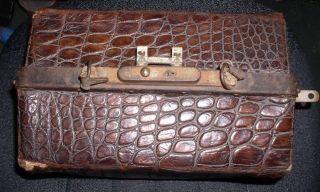 Vintage Alligator Skin Doctors Bag W/ Key Triple Latch,  Key Lock photo