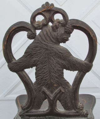 Outstanding Antique Black Forest Carved Wood Bear Childs Chair Glass Eyes photo